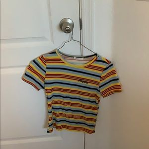 red blue & yellow striped happy tee!